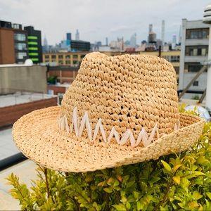 Anthro Tracy Watts NewYork Straw Raffia Fedora Hat
